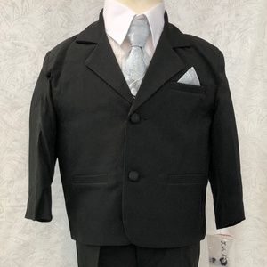 Silver Jacquard Satin Black Suit 5 pc Outfit